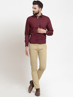 red solid formal shirt - 16274374 - Standard Image - 4