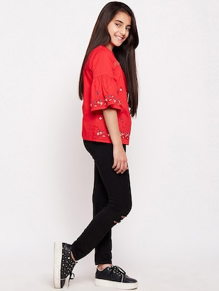 red cotton regular top - 16274924 - Standard Image - 4