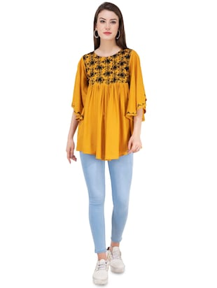 gather detail embroidered top  - 16282569 - Standard Image - 4