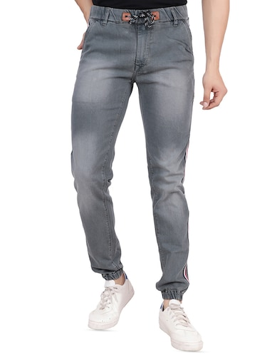 grey denim joggers - 16286418 - Standard Image - 1