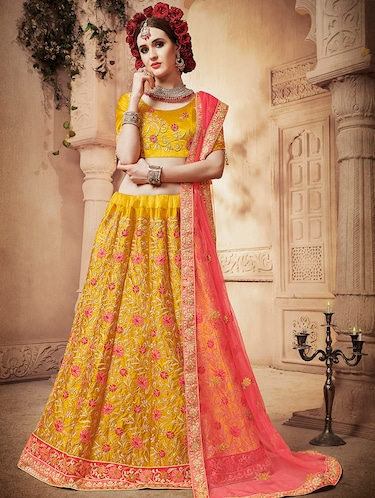 floral embroidered flared lehenga - 16287442 - Standard Image - 1