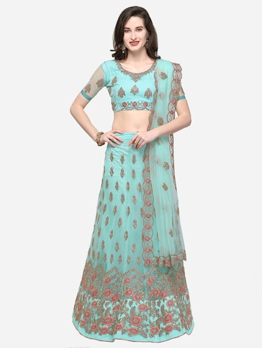 floral embroidered flared lehenga - 16287462 - Standard Image - 1