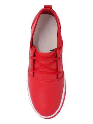 red leatherette lace up sneakers - 16292222 - Standard Image - 4