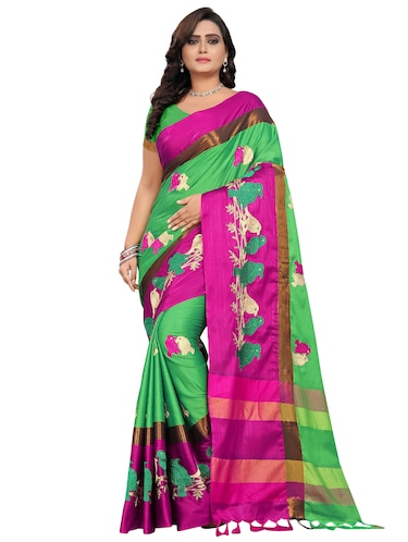 1ffad2b6817405 Light Green Cotton Silk Embroidered Saree With Blouse
