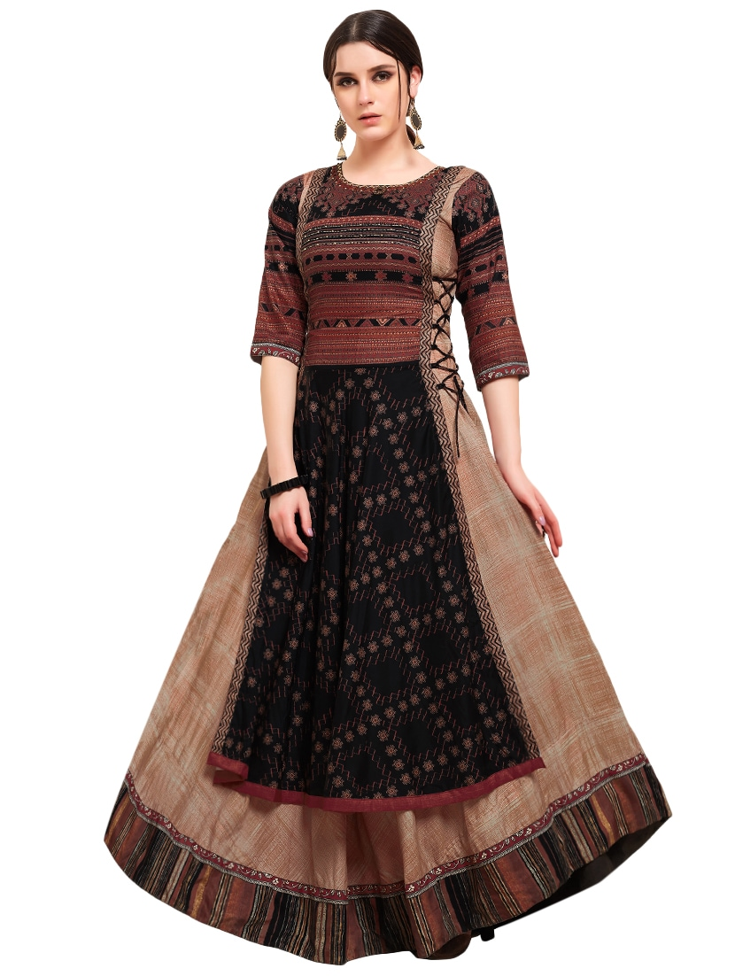 df7eb9325a Buy Foil Printed Layered Gown for Women from Kvsfab for ₹2419 at 56% off |  2019 Limeroad.com
