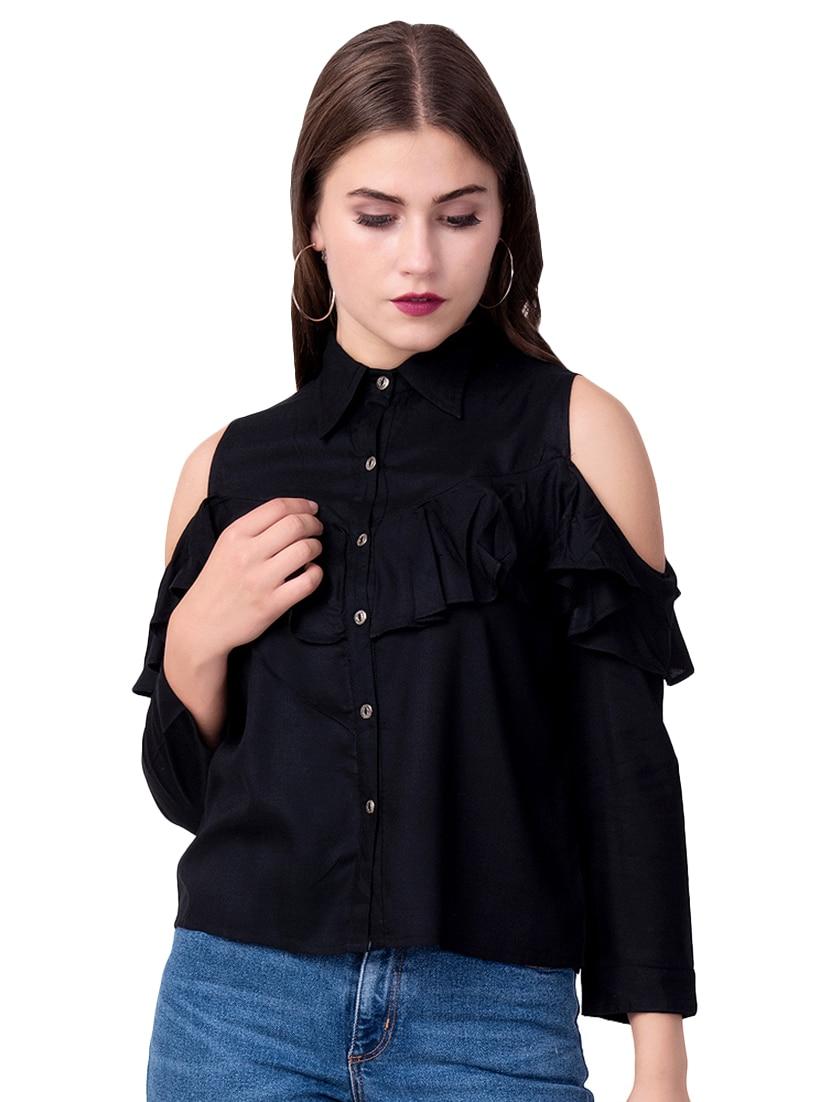 cold shoulder ruffle detail shirt