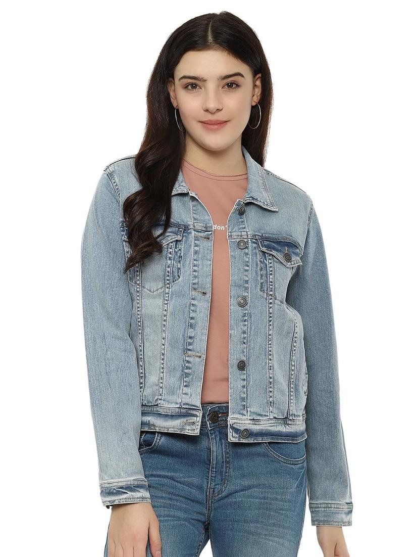 pocket patch denim summer jacket