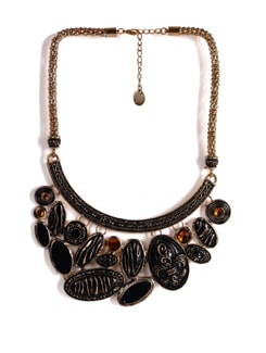 Black And Gold Chunky Necklace - Addons