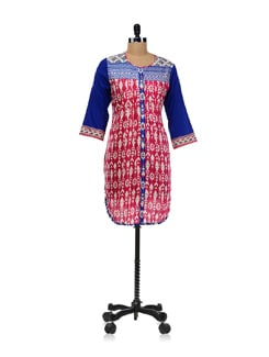 Ikat Print Button Down Kurta - Global Desi