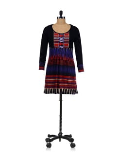 Trippy Geometric Print Kurta With Full Sleeves - Global Desi
