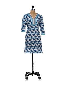 White Kurti With Blue Floral Design - WILD WOMAN