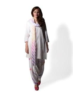 White Leheriya Print Patiala Salwar And Dupatta - WILD WOMAN