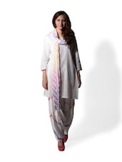 white leheriya print patiala salwar and dupatta -  online shopping for Churidars & Salwars