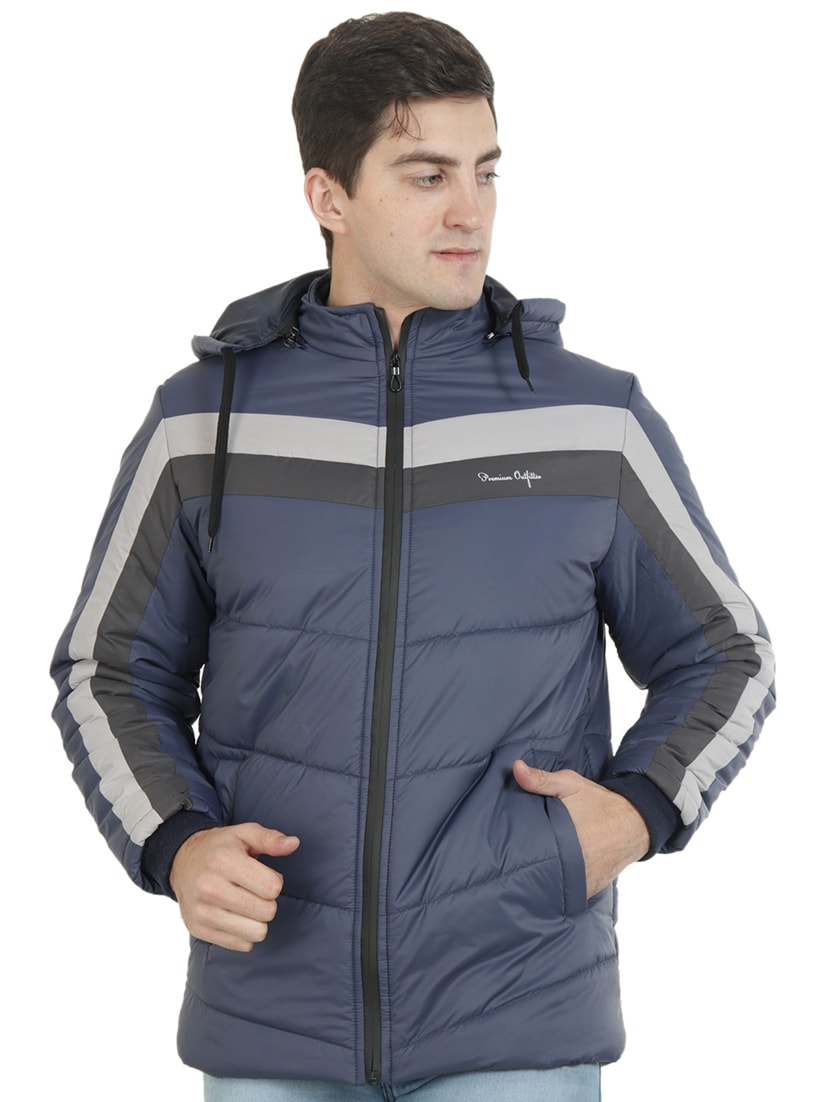 Buy online Navy Blue Striped Quilted Jacket from Jackets for Men by Xohy  for ₹1616 at 40% off | 2020 Limeroad.com