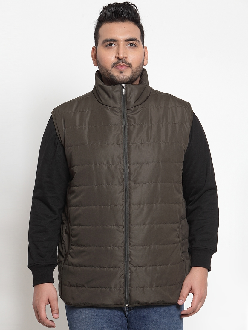 Brown Solid Quilted Jacket Plus Size