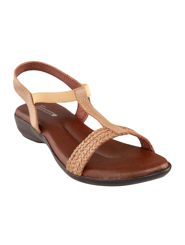 Beige Leatherette Back Strap Sandals