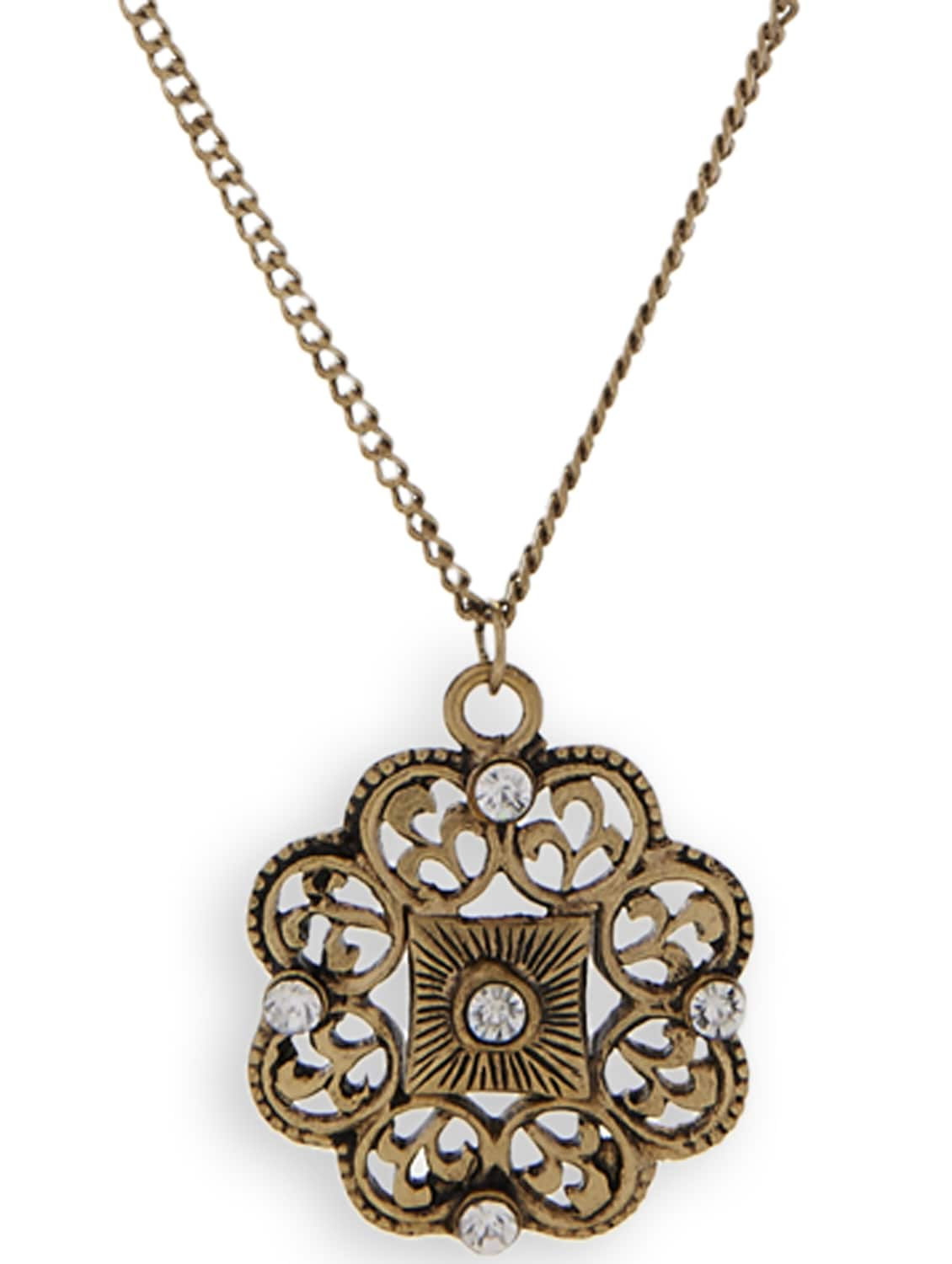 Central Beauty- Antique Gold Pendant In Chain - Trinketbag