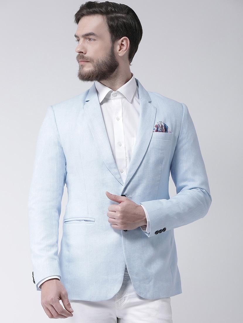 Buy online Light Blue Linen Solid