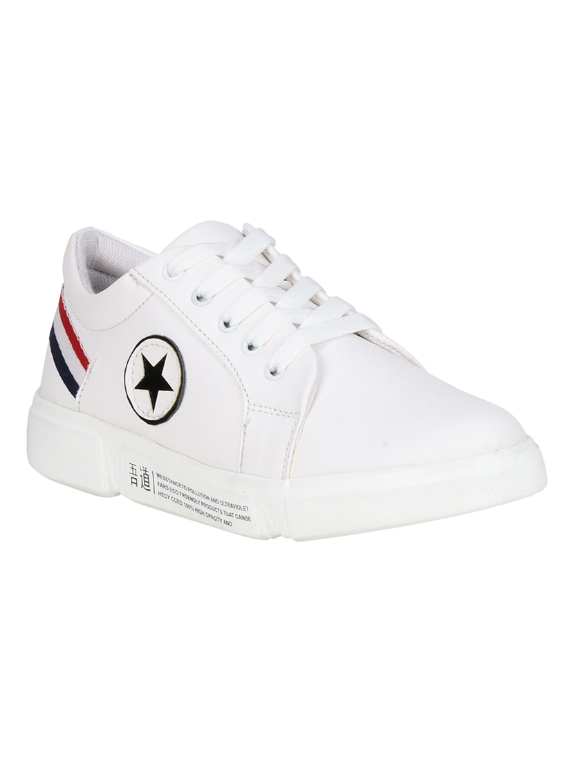 Buy online White Lace Up Sneakers from