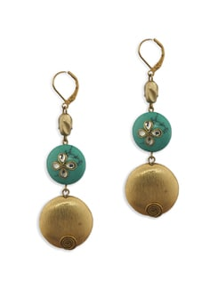 Turquoise And Gold Semi Precious Stone Earring - Eesha Zaveri; Jewellery By Design