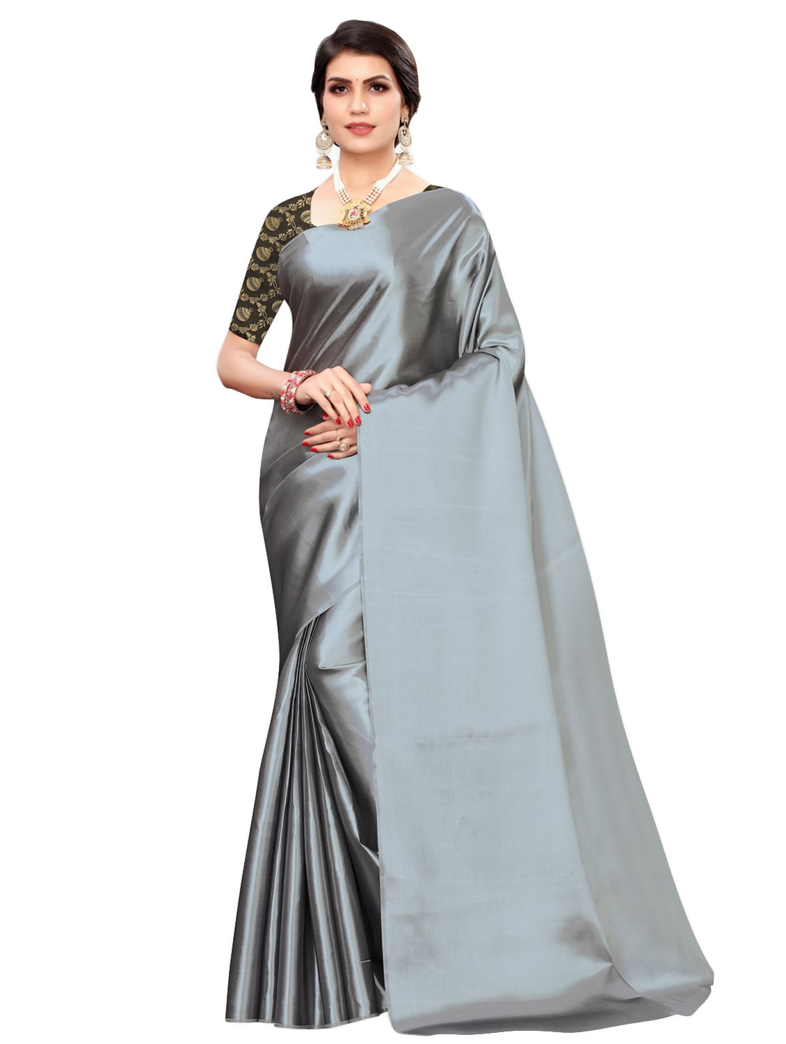 Buy Online Plain Satin Saree With Blouse From Ethnic Wear For Women By Sidhidata Textile For 657 At 67 Off 2021 Limeroad Com