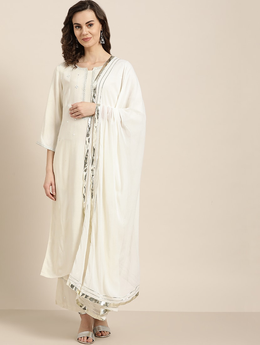 Buy Online Mirror Work Embroidered Suit Set From Ethnic Wear For Women By Jaipurkurti For 3099 At 42 Off 2020 Limeroad Com