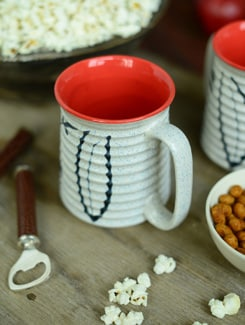Ribbed Beer Mug Set Of 2 - White And Orange - Cultural Concepts
