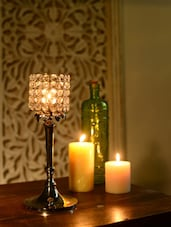 Cylindrical Crystal Candle Stand - Cultural Concepts