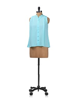 Tiffany Blue Pleated Shirt - Femella
