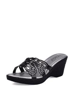 Black Cutwork Sandals - La Briza