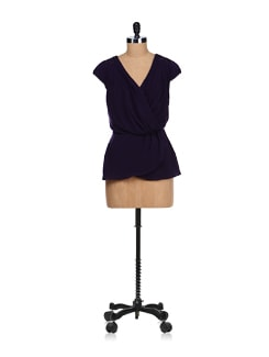 Stylish Navy Blue Wrapped Top - SPECIES