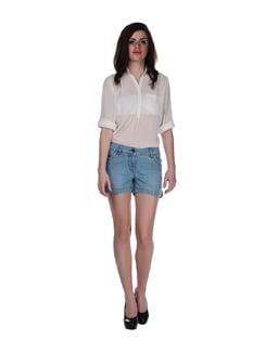 Blue Denim Shorty Shorts - SPECIES