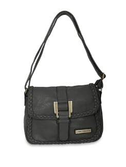 Grey Faux Leather Sling Bag - Lino Perros