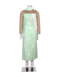 Green And White Chikankari Dress Material - Ada