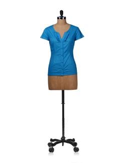 Cobalt Blue Ruffled Shirt - Kaxiaa