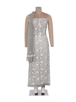 Grey And White Elegant Chikankari Suit Piece Set - Ada