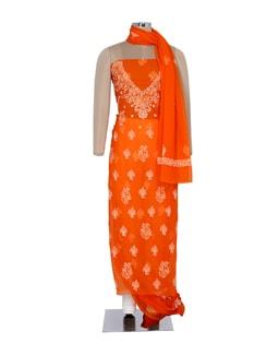Bright Orange Chikankari Suit Piece Set - Ada