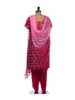 Magenta Floral Embroidered Suit - Vedanta