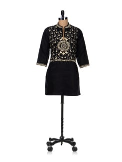 Black And Beige Floral Embroidered Kurta - Vedanta