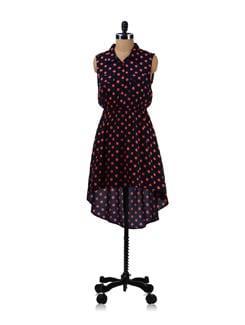 Trendy Navy Blue Polka Dress - Aamod