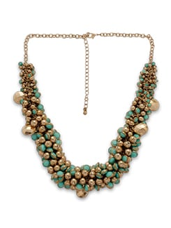 Gold And Turquoise Ball Cluster Necklace - THE PARI