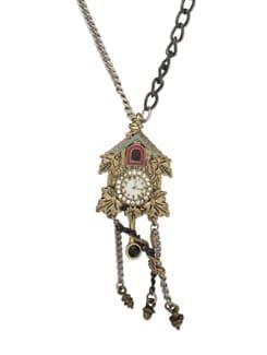 Multicoloured Clock Pendant Necklace - THE PARI