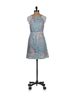 Aquamarine Printed Sheath Dress - Tops And Tunics