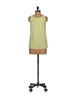 Lime Green Pleated Sheer Top - Tops And Tunics
