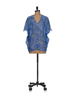 Dusky Blue Printed Batwing Top - Tops And Tunics