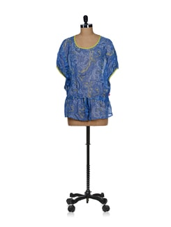 Dusky Blue Tie-up Batwing Tunic - Tops And Tunics