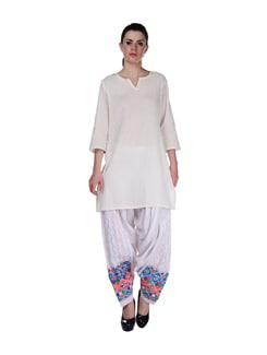 Elegant White Phulkari Patiala Salwar - Home Of Impression