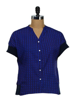 Trendy Printed Methyl Blue Shirt - NUN
