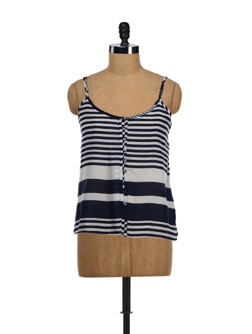 Blue Striped Strappy Crop Top - NUN