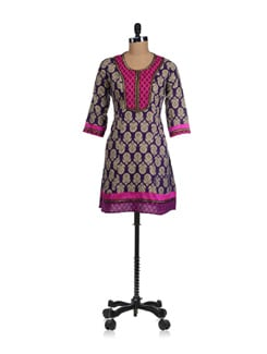 Bright Purple Kurta With Contrast Neckline - Fami India